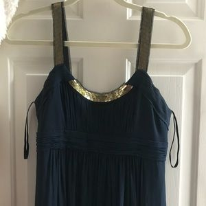 BCGBG navy chiffon maxi dress w/ sequins